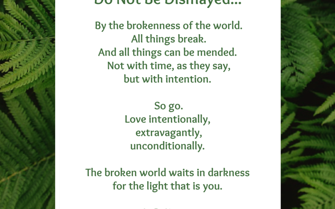 Do not be dismayed by the brokenness of the world.
